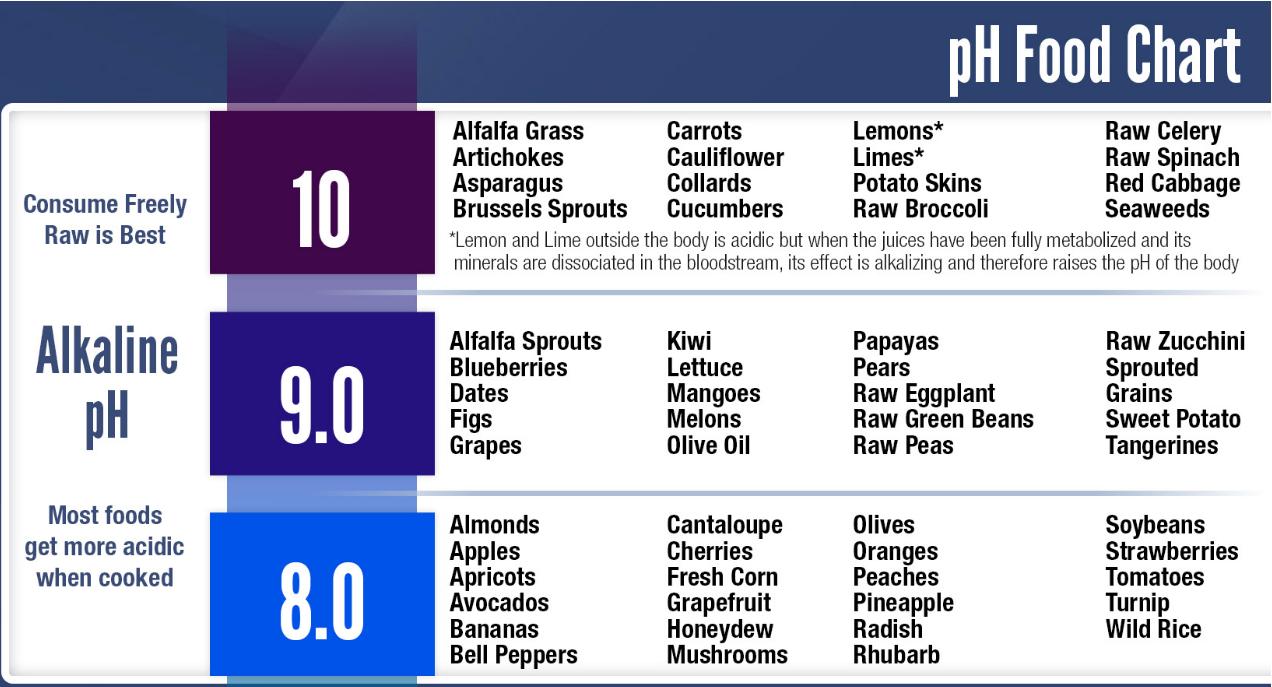 pH Alkaline food chart
