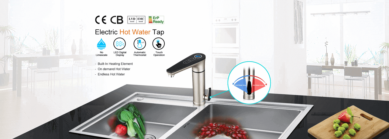 Electric tap installed at kitchen sink