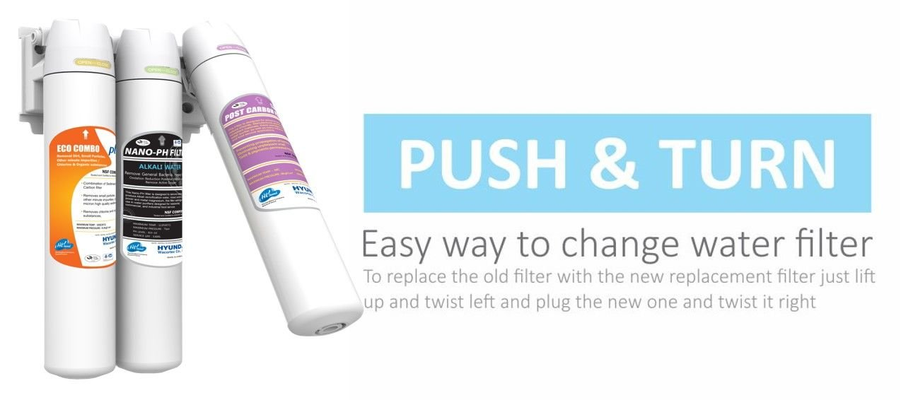 Push & Turn - Easy to replace filters