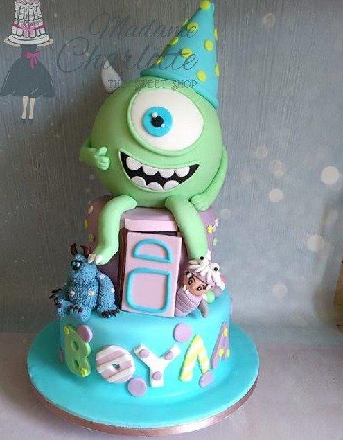 παιδική τουρτα γενεθλίων με ζαχαροπαστα  Monsters Inc. - Mike Wazowski, Ζαχαροπλαστείο καλαμάτα madamecharlotte.gr, party birthday cakes 2d 3d confectionery patisserie kalamata