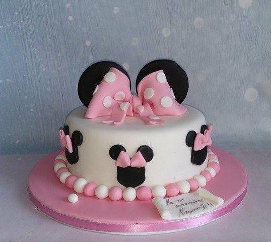 τούρτα γενεθλίων απο ζαχαρόπαστα minnie ζαχαροπλαστείο καλαμάτα madamecharlotte.gr, birthday cakes kalamata