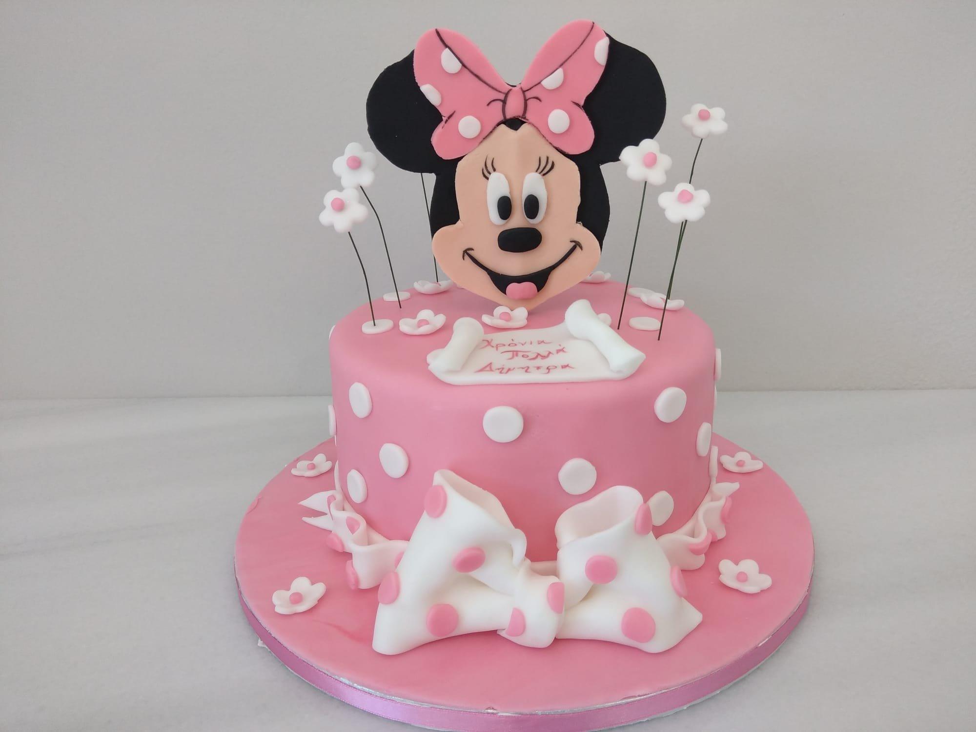 τούρτα από ζαχαρόπαστα minnie mouse, Ζαχαροπλαστείο καλαμάτα madamecharlotte.gr, birthday cakes 2d 3d confectionery patisserie kalamata