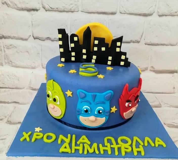 τούρτα από ζαχαρόπαστα pj masks, Ζαχαροπλαστείο καλαμάτα madamecharlotte.gr, τούρτες γεννεθλίων γάμου βάπτησης παιδικές θεματικές birthday theme party cake 2d 3d confectionery patisserie kalamata