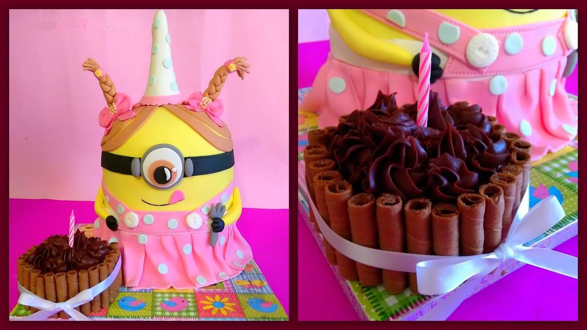 τουρτα απο ζαχαροπαστα girl minion, Ζαχαροπλαστείο καλαμάτα madamecharlotte.gr, τούρτες γεννεθλίων γάμου βάπτησης παιδικές θεματικές birthday theme party cake 2d 3d confectionery patisserie kalamata