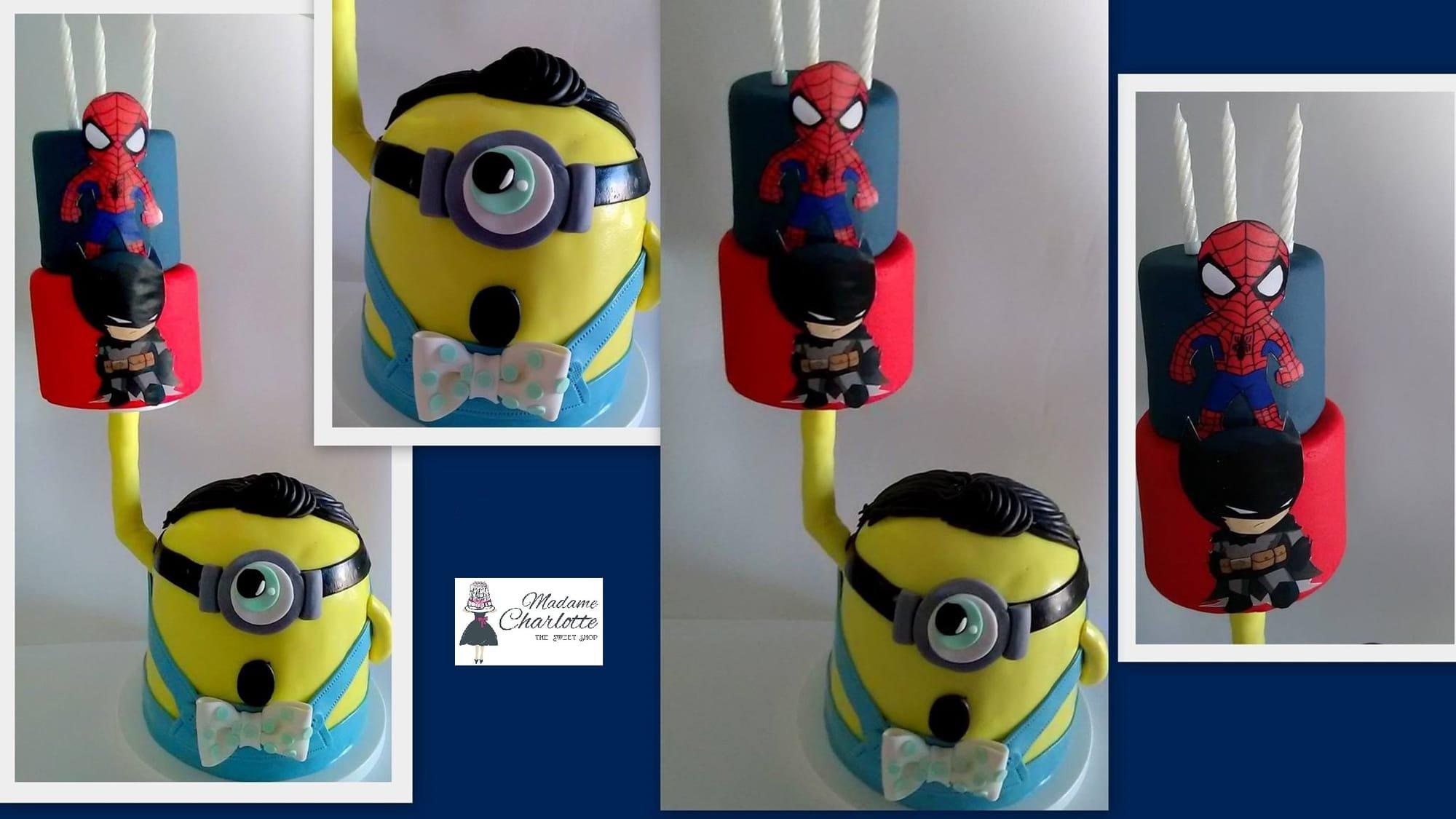 τούρτα από ζαχαρόπαστα minion with cake, Ζαχαροπλαστείο καλαμάτα madamecharlotte.gr, τούρτες γεννεθλίων γάμου βάπτησης παιδικές θεματικές birthday theme party cake 2d 3d confectionery patisserie kalamata