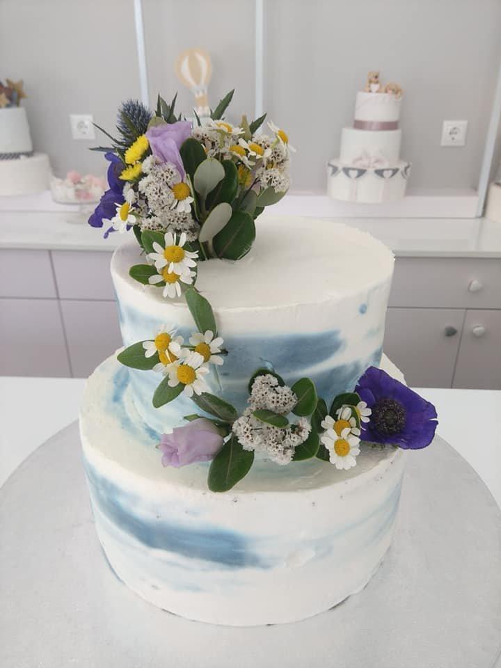τούρτα χωρίς ζαχαρόπαστα με ανθη λουλουδια μπουμπουκια, ζαχαροπλαστείο καλαμάτα madame charlotte, birthday wedding party cakes 2d 3d kalamata