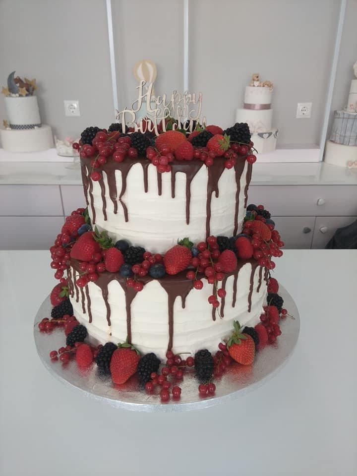 τούρτα χωρίς ζαχαρόπαστα με εξωτικά φρούτα, madame charlotte ζαχαροπλαστείο καλαμάτα, wedding & παρτυ cakes kalamata