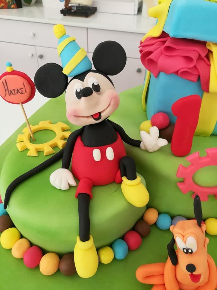 τούρτα από ζαχαρόπαστα μίκυ και πλούτοmickey pluto disney cake, ζαχαροπλαστείο καλαμάτα madamecharlotte.gr, birthday theme party cakes 2d 3d confectionery patisserie kalamata