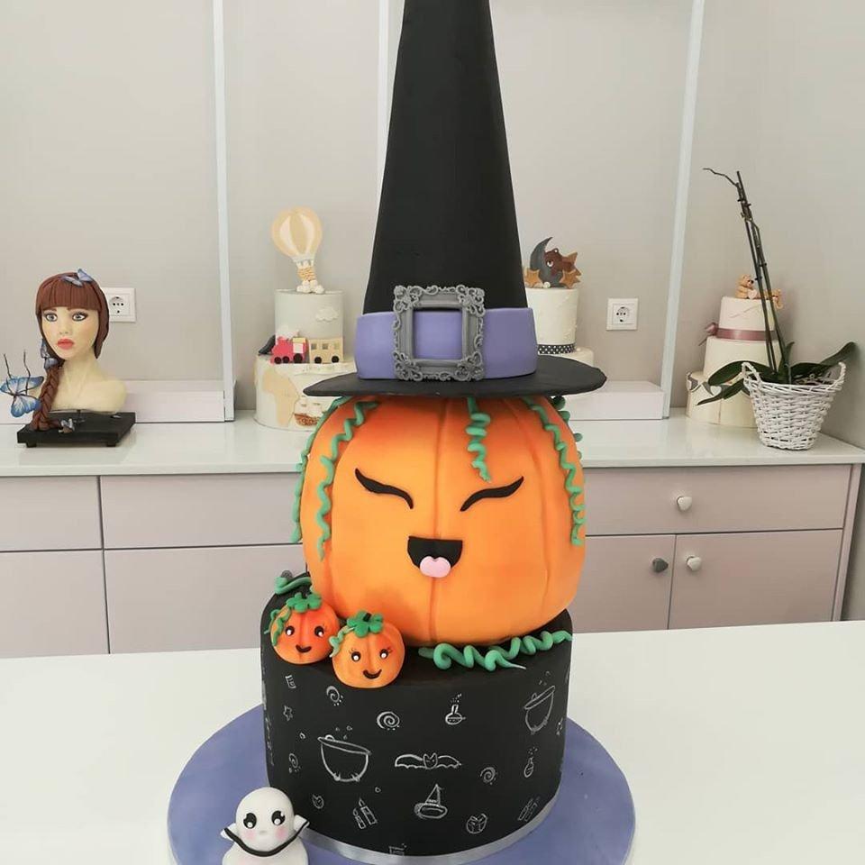 τούρτα από ζαχαρόπαστα halloween pumpkin τούρτα αποκριάτικη μάγισσα κολοκύθα, Ζαχαροπλαστείο καλαμάτα madame charlotte, τούρτες γεννεθλίων γάμου βάπτησης παιδικές θεματικές birthday theme party cake 2d 3d confectionery patisserie kalamata