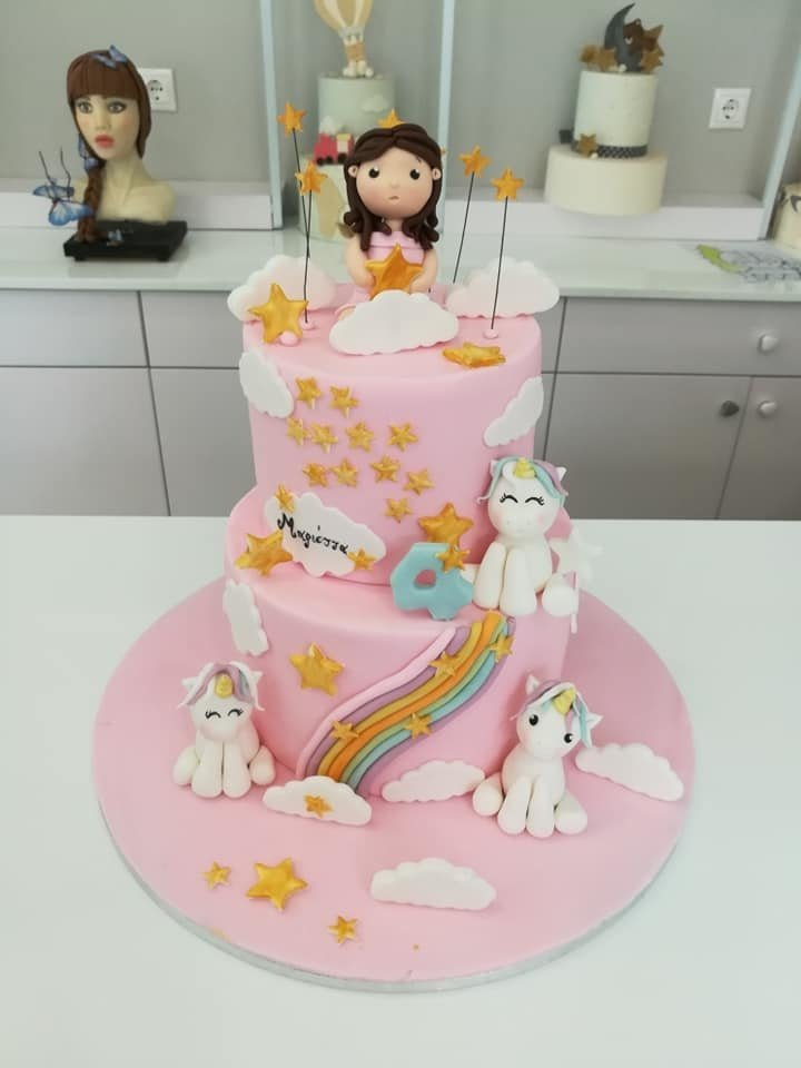 τούρτα από ζαχαρόπαστα unicorn princess μονόκερος, Ζαχαροπλαστεία στη καλαμάτα madame charlotte, τούρτες γεννεθλίων γάμου βάπτησης παιδικές θεματικές birthday theme party cake 2d 3d confectionery patisserie kalamata