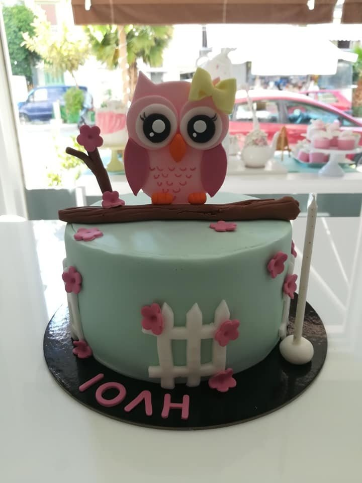 τούρτα από ζαχαρόπαστα ροζ κουκουβάγια theme cake pink owl, Ζαχαροπλαστεία στη καλαμάτα madame charlotte, τούρτες γεννεθλίων γάμου βάπτησης παιδικές θεματικές birthday theme party cake 2d 3d confectionery patisserie kalamata