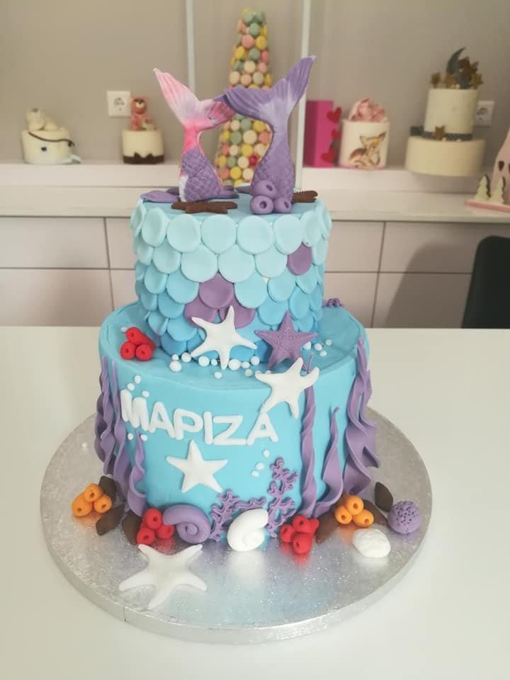 τούρτα από ζαχαρόπαστα γοργόνα δυόροφη, themed cake mermaid 2 tier, Ζαχαροπλαστεία στη Καλαμάτα madame charlotte, τούρτες γεννεθλίων γάμου βάπτησης παιδικές θεματικές birthday theme party cake 2d 3d confectionery patisserie kalamata