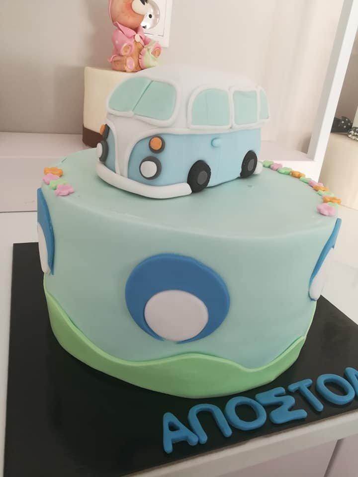 τούρτα από ζαχαρόπαστα vw volkswagen van themed cake, Ζαχαροπλαστείο Καλαμάτα madame charlotte, τούρτες για πάρτι παιδικές γενεθλίων για αγόρια για κορίτσια για μεγάλους madamecharlotte.gr birthday themed cakes patisserie confectionery kalamata