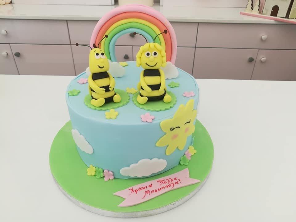 τούρτα από ζαχαρόπαστα μάγια μέλισσα θεματική τούρτα, bee themed cake, Ζαχαροπλαστείο Καλαμάτα madame charlotte, τούρτες για πάρτι παιδικές γενεθλίων για αγόρια για κορίτσια για μεγάλους madamecharlotte.gr birthday themed cakes patisserie confectionery kalamata