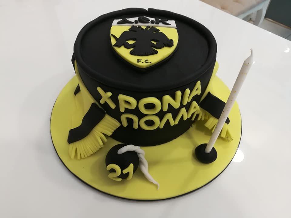 τούρτα από ζαχαρόπαστα ΑΕΚ football team themed cake, Ζαχαροπλαστεία Καλαμάτα madame charlotte, τούρτες για πάρτι παιδικές γενεθλίων για αγόρια για κορίτσια για μεγάλους, birthday themed cakes patisserie confectionery kalamata