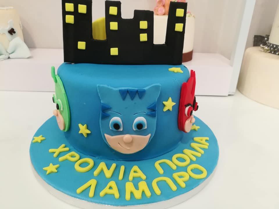 τούρτα από ζαχαρόπαστα πιτζαμοήρωες, PJ Masks town themed cake, Ζαχαροπλαστεία Καλαμάτα madame charlotte, τούρτες για πάρτι παιδικές γενεθλίων για αγόρια για κορίτσια για μεγάλους, birthday themed cakes patisserie confectionery kalamata
