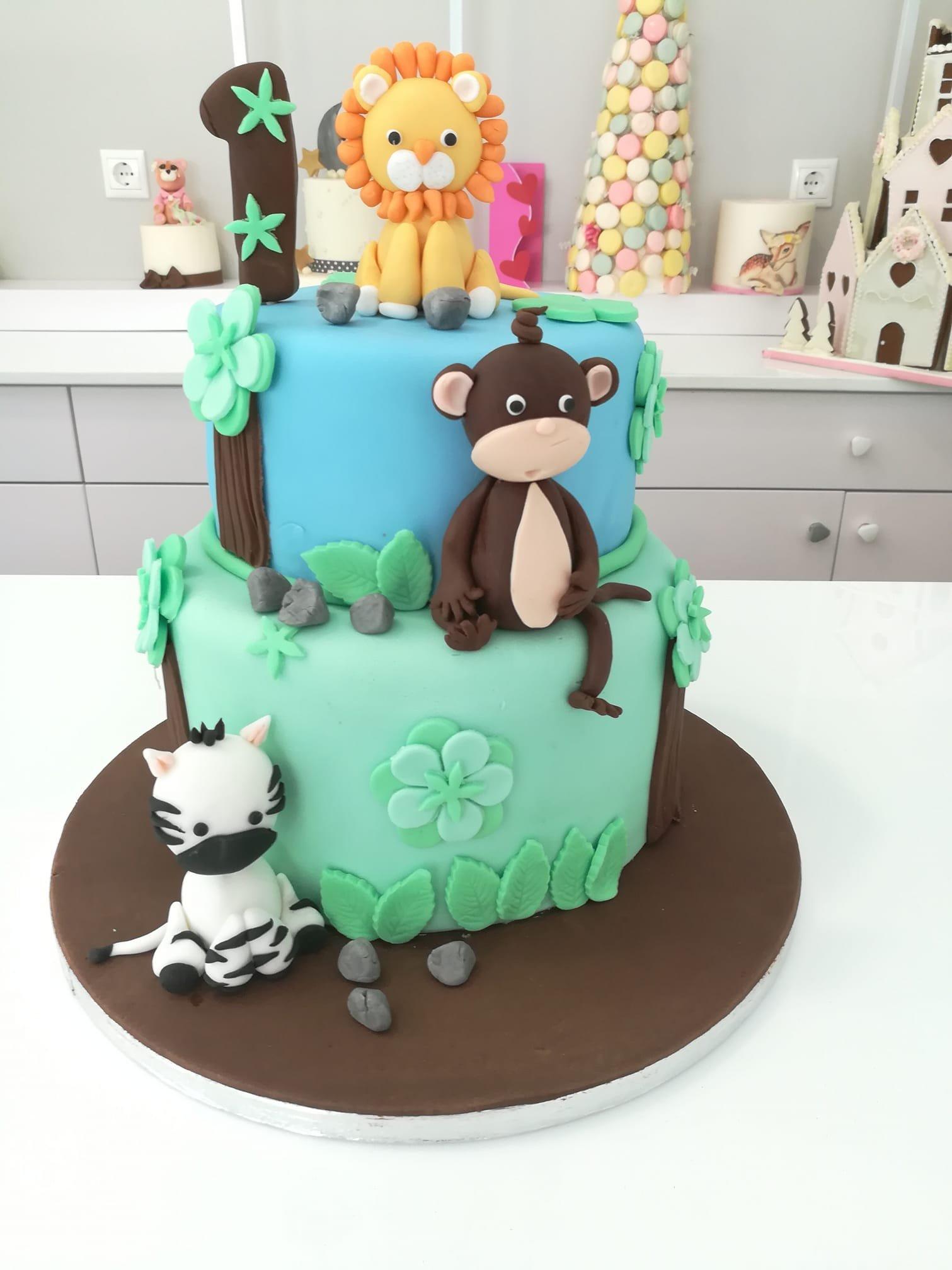 τούρτα από ζαχαρόπαστα ζώα της ζούγκλας Jungle cake themed cake, Ζαχαροπλαστεία Καλαμάτα madame charlotte, τούρτες για πάρτι παιδικές γενεθλίων για αγόρια για κορίτσια για μεγάλους, birthday themed cakes patisserie confectionery kalamata