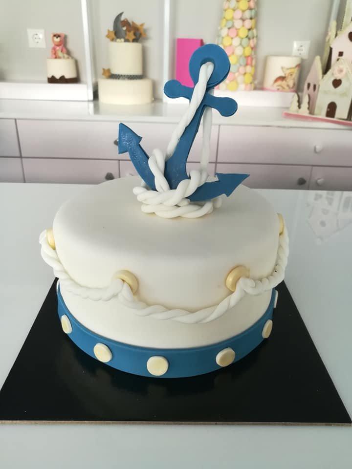 τούρτα από ζαχαρόπαστα άγκυρα, anchor themed cake, Ζαχαροπλαστεία στη Καλαμάτα madame charlotte, τούρτες γεννεθλίων γάμου βάπτησης παιδικές θεματικές birthday theme party cake 2d 3d confectionery patisserie kalamata
