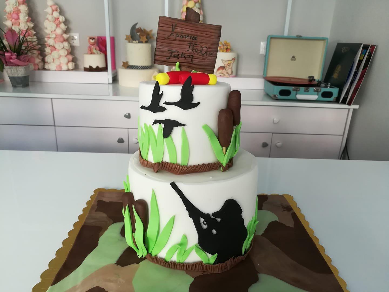 τούρτα από ζαχαρόπαστα κυνηγος,Hunting cake themed cake, Ζαχαροπλαστεία στη Καλαμάτα madame charlotte, τούρτες γεννεθλίων γάμου βάπτησης παιδικές θεματικές birthday theme party cake 2d 3d confectionery patisserie kalamata