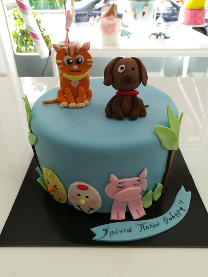 τούρτα από ζαχαρόπαστα my lovely pets themed cake, Ζαχαροπλαστεία στη Καλαμάτα madame charlotte, τούρτες γεννεθλίων γάμου βάπτησης παιδικές θεματικές birthday theme party cake 2d 3d confectionery patisserie kalamata