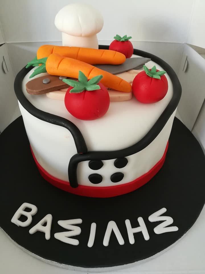 τούρτα από ζαχαρόπαστα chef themed cake, Ζαχαροπλαστεία στη Καλαμάτα madame charlotte, τούρτες γεννεθλίων γάμου βάπτησης παιδικές θεματικές birthday theme party cake 2d 3d confectionery patisserie kalamata