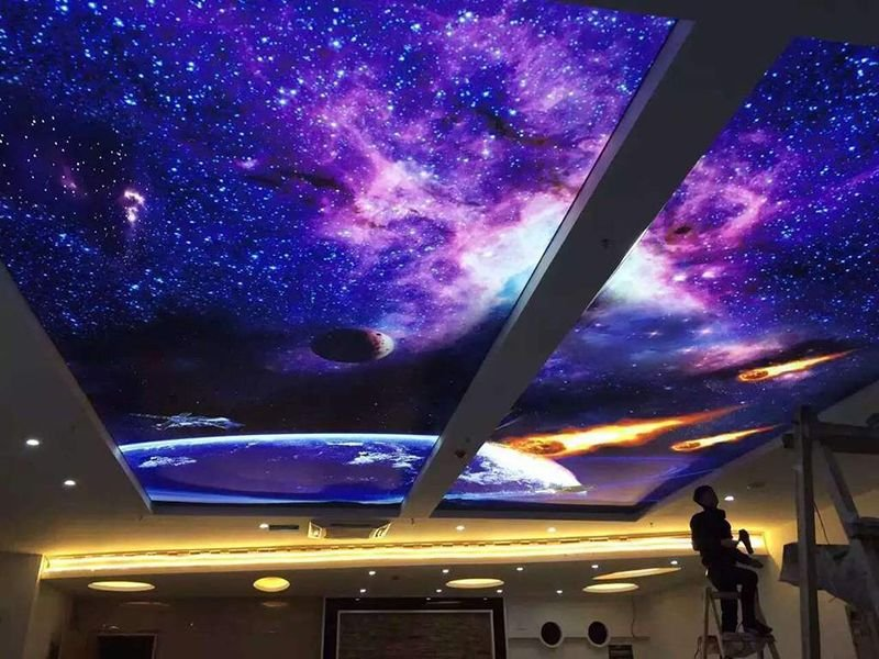 Foxygen factory is supplying starry night sky pvc stretched ceiling film