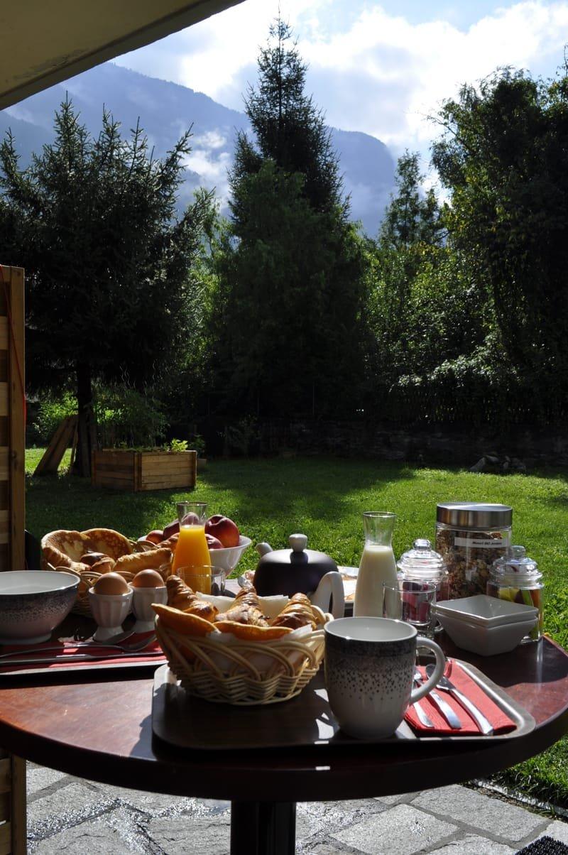 Le jardin, les montagnes, le soleil...