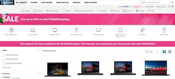 This screenshot of the home page for Lenovo has a gray background and navigation bar, along with two pink bars announcing sales on laptops, as well as a row of small images of open laptops.