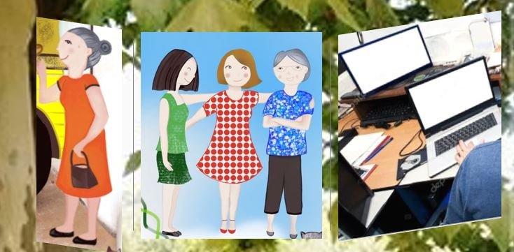 La familia de los Tres Primos: la Yaya,  la tía Pilar, la tía  Alba, la tía Isabel y el tío Rainer