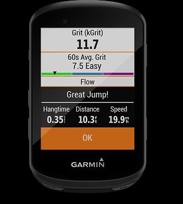 Edge 530 con la pantalla de dinámica de ciclismo de montaña