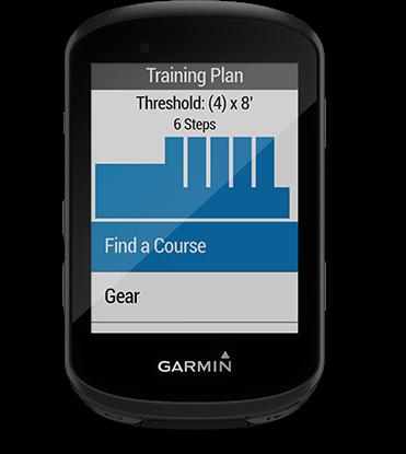 Edge 530 con la pantalla de sesiones de entrenamiento avanzadas