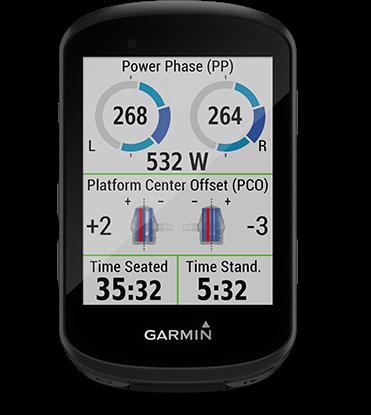Edge 530 con la pantalla de dinámica de ciclismo