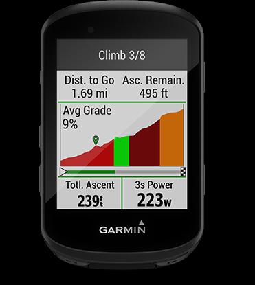 Edge 530 con la pantalla de ClimbPro