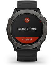 fēnix 6X Pro y Zafiro con la pantalla de las funciones de seguimiento y seguridad