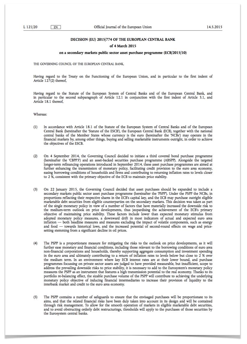 ECB public sector asset purchase programme