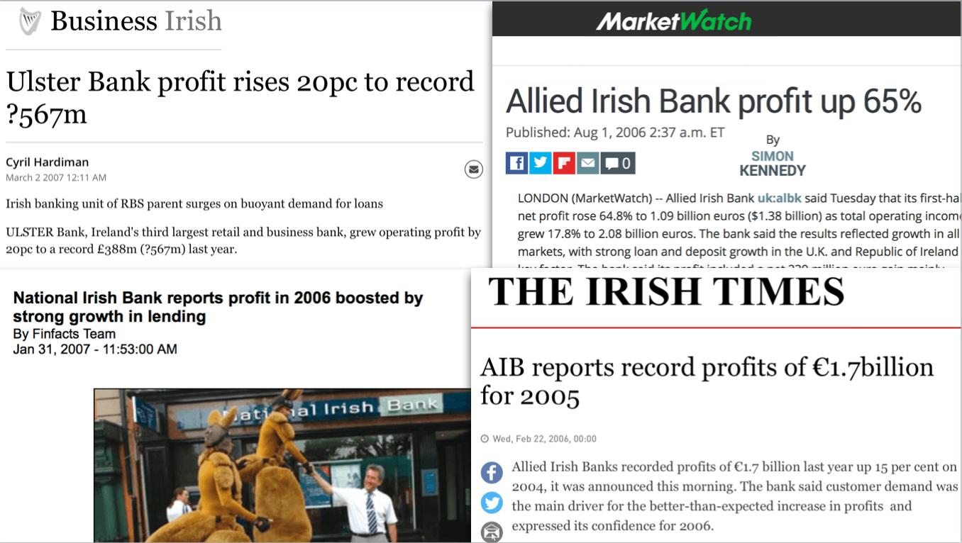 Nieuwskoppen over winsten Ierse banken