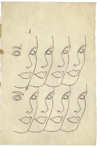 Andy Warhol pencil sketch Women's Faces