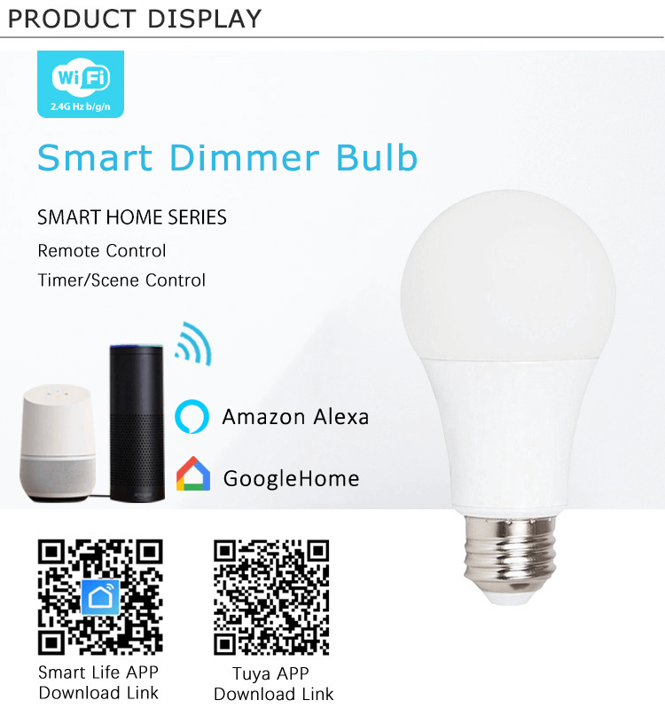 Iot Intelligence E27 Wifi Wireless Control RGB Dimming Smart LED Bulb for Living Room