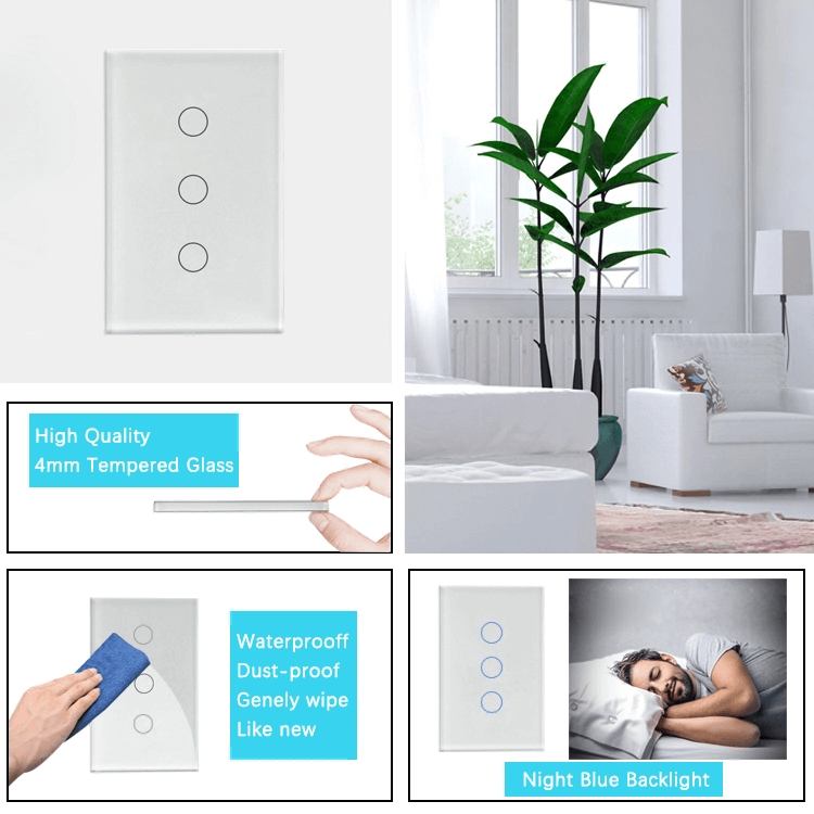 Updated Version WIFI Wireless Control Remote Smart Wall Light Switch Support for Multiple Control Modes
