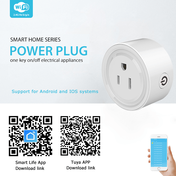 US Standard Mini Round Smart Socket Wifi Remote Control Power Plug with Timing Switch For Smart life