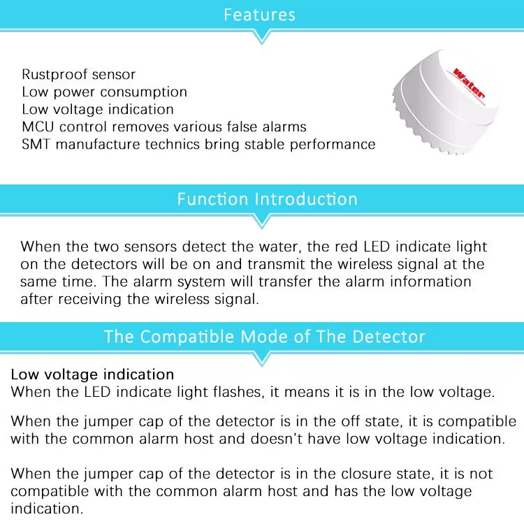 433M Wireless Remote Control Water Leak Detector Sensor for Tuya Smart Home Siren Alarm System