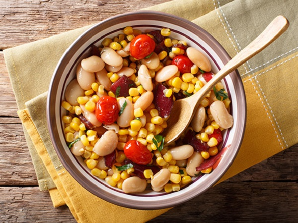 Bowl of beans, tomatoes and corn