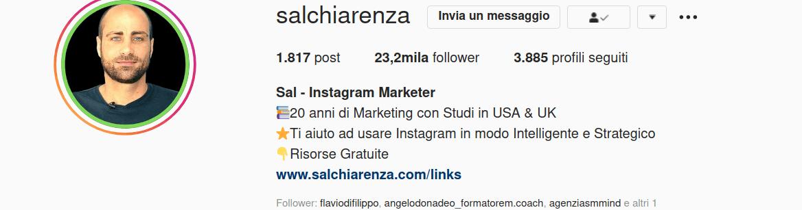 Profilo instagram di SalChiarenza