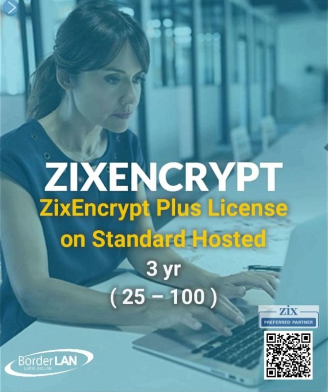 ZixEncrypt Plus License on Standard Hosted, 3 yr  (25 – 100)