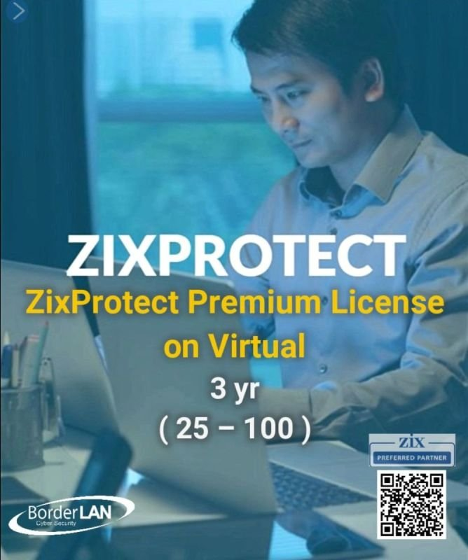 ZixProtect Premium License on Virtual 3 yr (25 – 100)