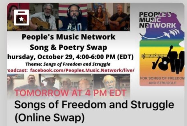 Thursday 10/30/20, 4-6 pm Peoples Music Network