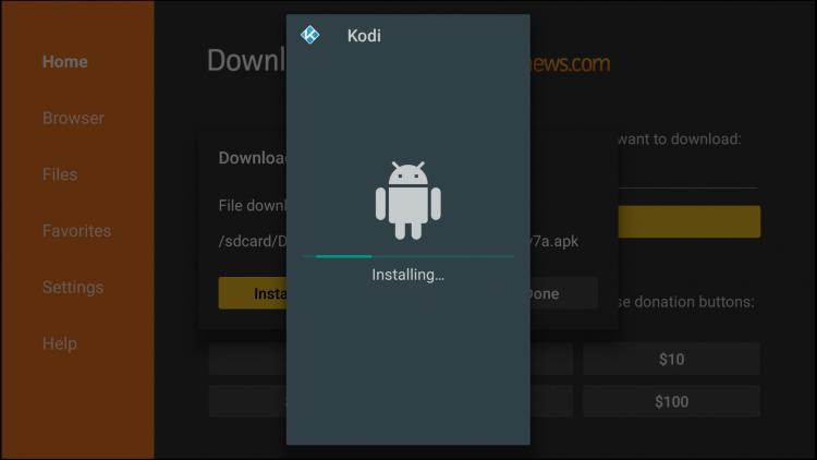 Kodi will begin installing on Firestick