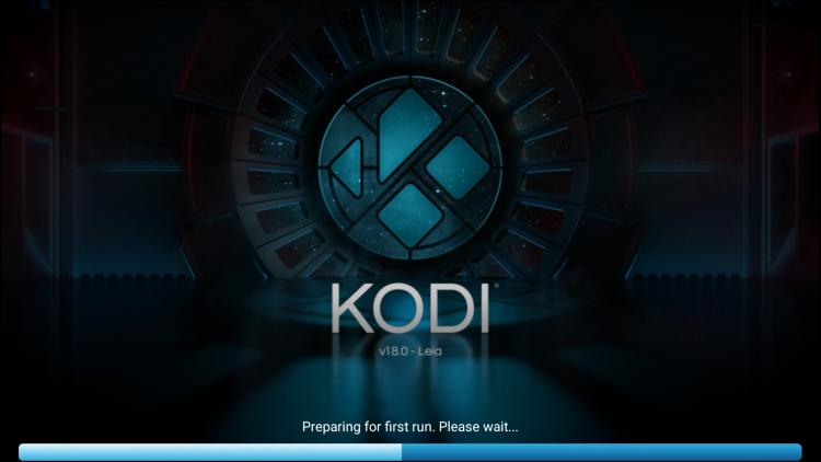 Kodi loading screen on Firestick or Fire TV