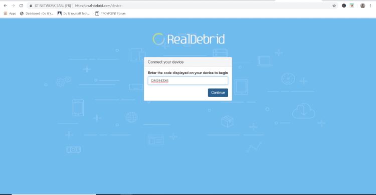 enter real-debrid code