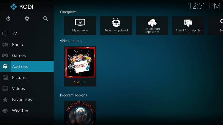 Once the ClickSville Video add-on has been installed go back to the Home screen of Kodi. Click Add-ons